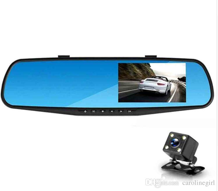 Full HD 1080P Car Dvr Camera Auto 4.3 Inch Rearview Mirror Digital Video Recorder Dual Lens Registratory Camcorder Free Shipping