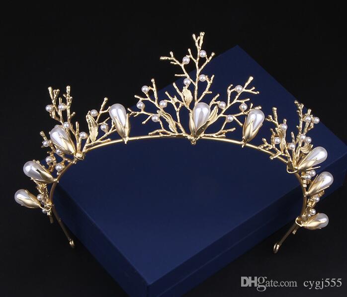 Kore Şen Bölümü Tatlı gelin takı altın dalları saç süsler saç aksesuarları gelinlik aksesuarları hoop taç