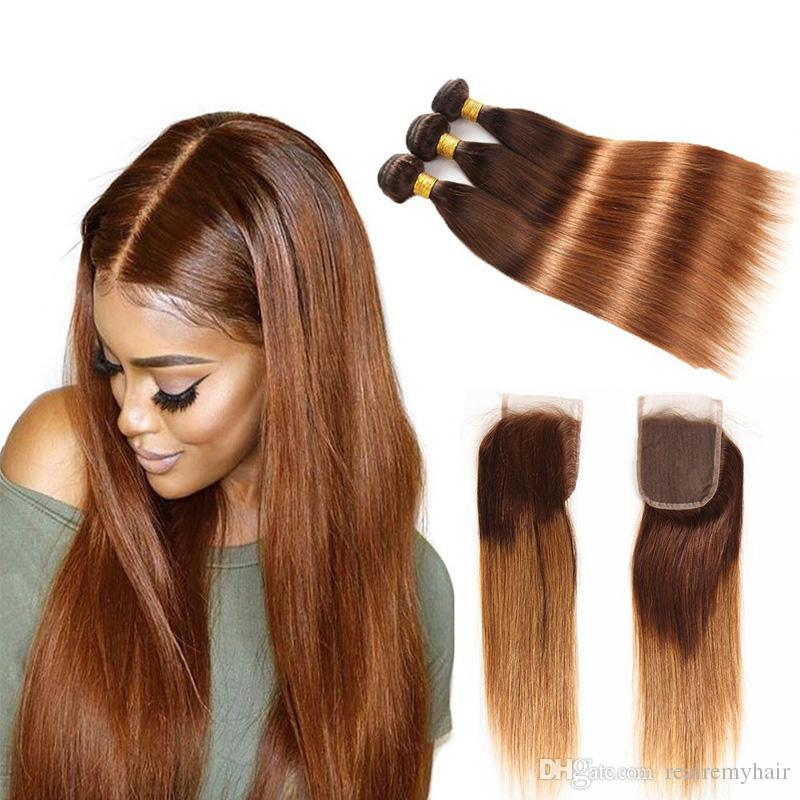 Brazilian Virgin Straight Hair Weave With Closure Ombre Human Hair Bundles With Closure Colored Two Tone 4/30# Blonde Human Hair