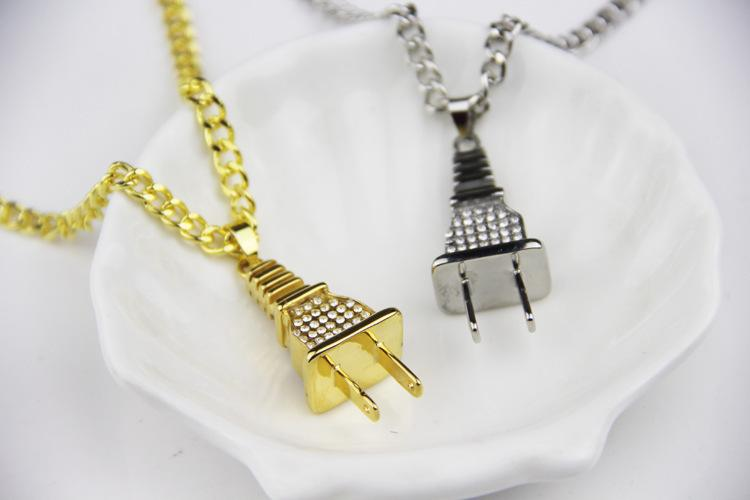 Iced Out Plug Pendant Necklace - Gold Silver Tone Electrical Plug Shape Mens Womens Necklaces Charm - Rhinestone Hip Hop Jewelry