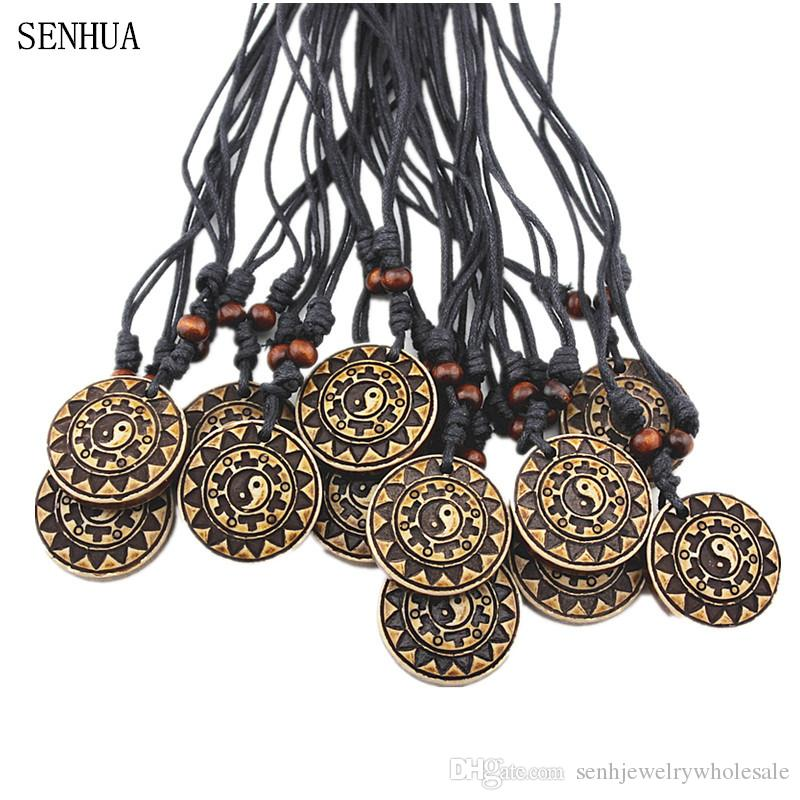 Fashion Jewelry Wholesale 12PCS/LOT Imitation Bone Carved Tai Chi Gossip Charm Pendant Necklace For Men Women's Amulet MN618