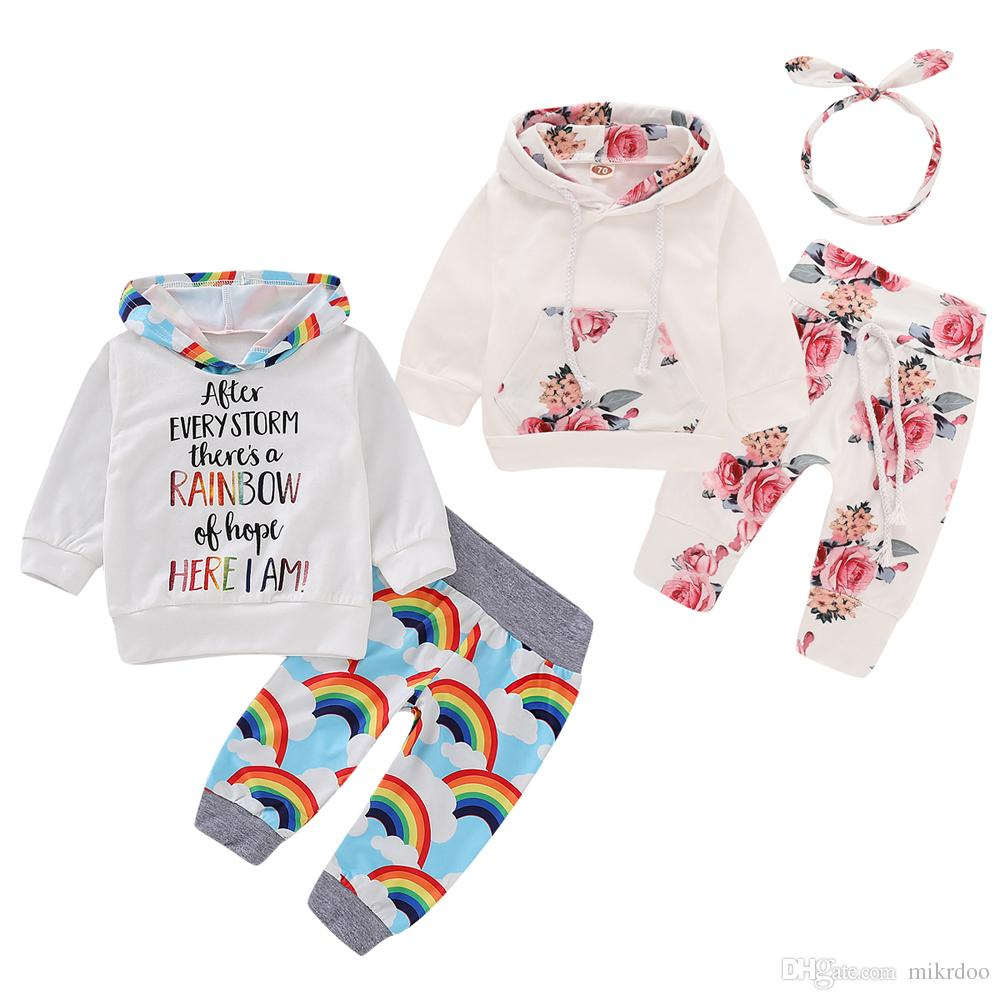 Mikrdoo Kids Toddler Baby Boys Girls Hooded Clothes Set Rainbow and Floral Print Hoodie Pant Headband 3PCS Spring Autumn Outfit