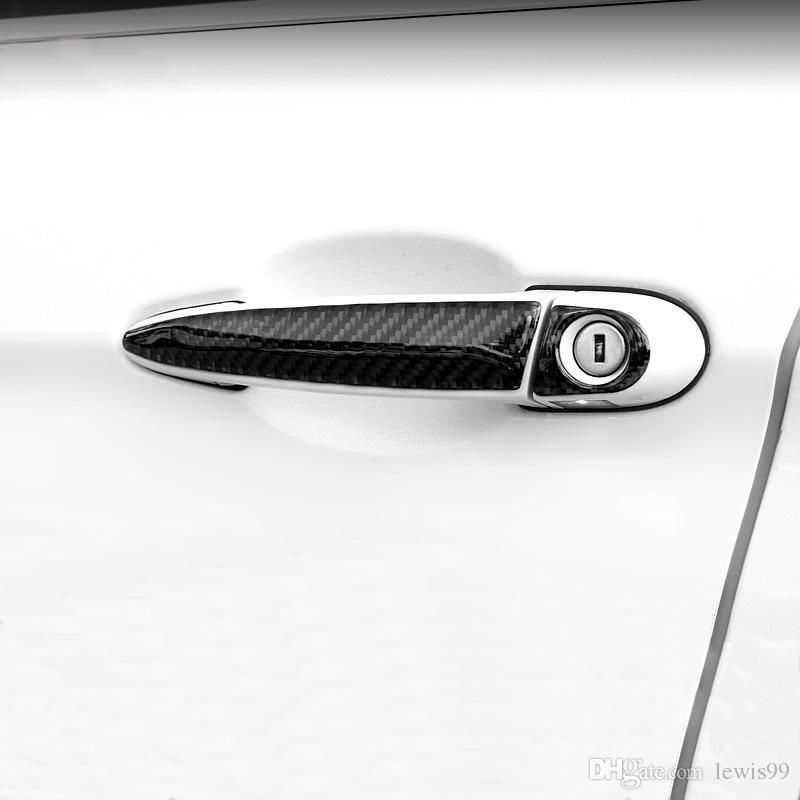 Fibra de carbono Manija de la puerta Etiqueta de la decoración Cubierta de la tira Accesorios de ajuste para BMW 1 2 3 4 Serie X1 F20 F30 F31 F34 E84 Car Styling
