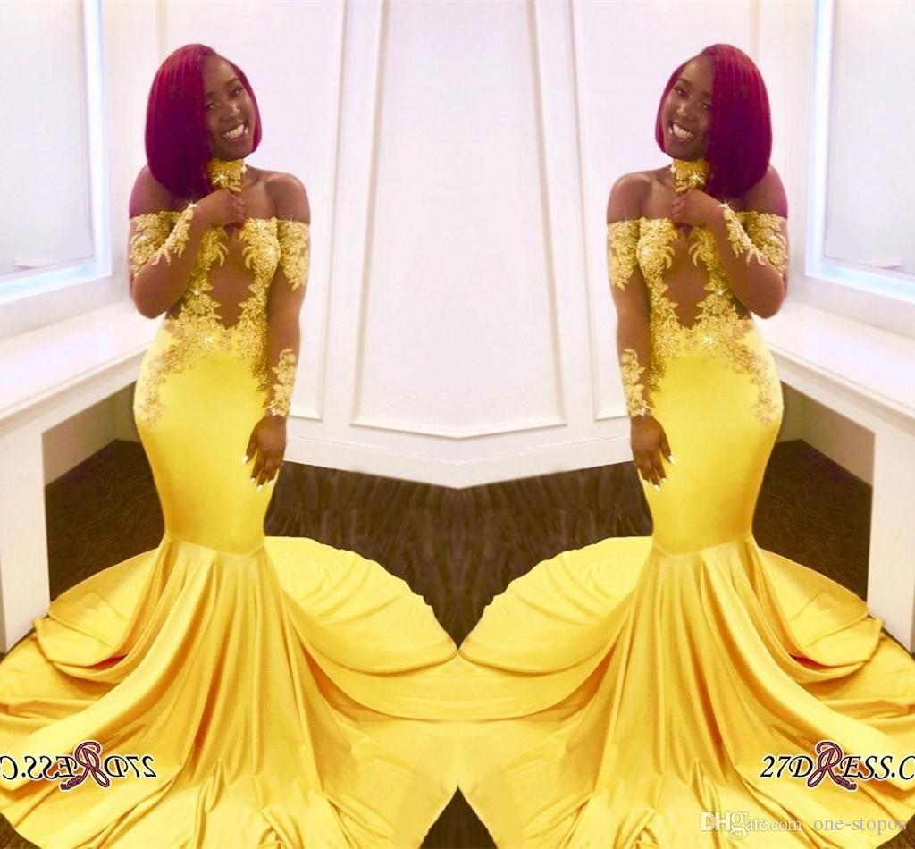 Vintage Off Shoulder Yellow Prom Dresses For Black Girl Appliques See Through Long Sleeves Formal Evening Gowns