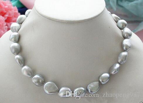 """Ожерелье из натурального 9-10 мм серебристо-серого барочного пресноводного жемчуга 18 """""""