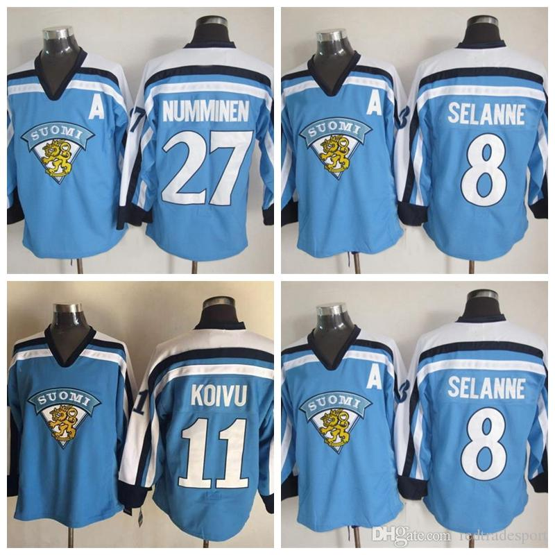 1998 Team Finlândia 11 Saku Koivu Hóquei Jersey 2002 Finlândia 8 Teemu Selanne 27 Teppo Numminen Hockey Jerseys
