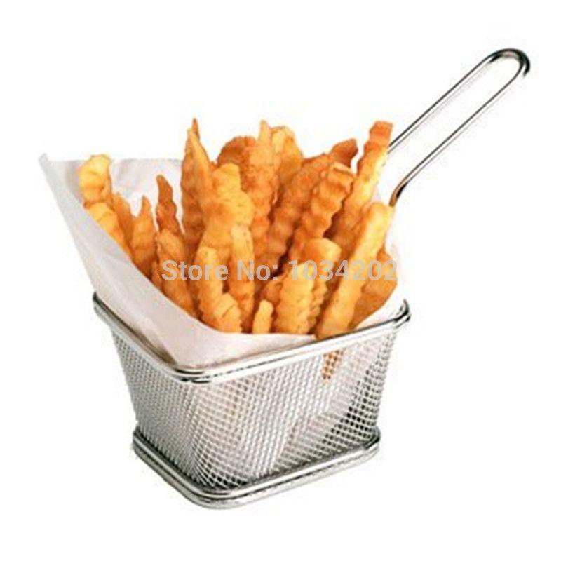 30 pcs Chips Mini Fry Baskets Stainless Steel Fryer Basket Strainer Serving Food Presentation French Fries Basket DHL Free