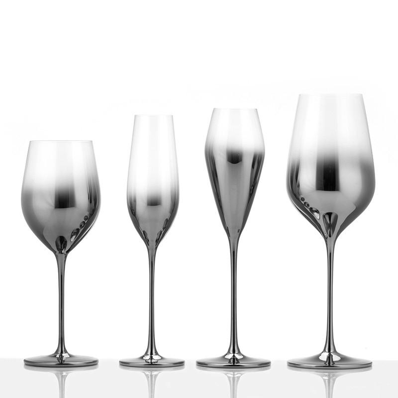 classic Metal color crystal silver plating glass wine cup high feet electroplate champagne cup for decoration footed goblets