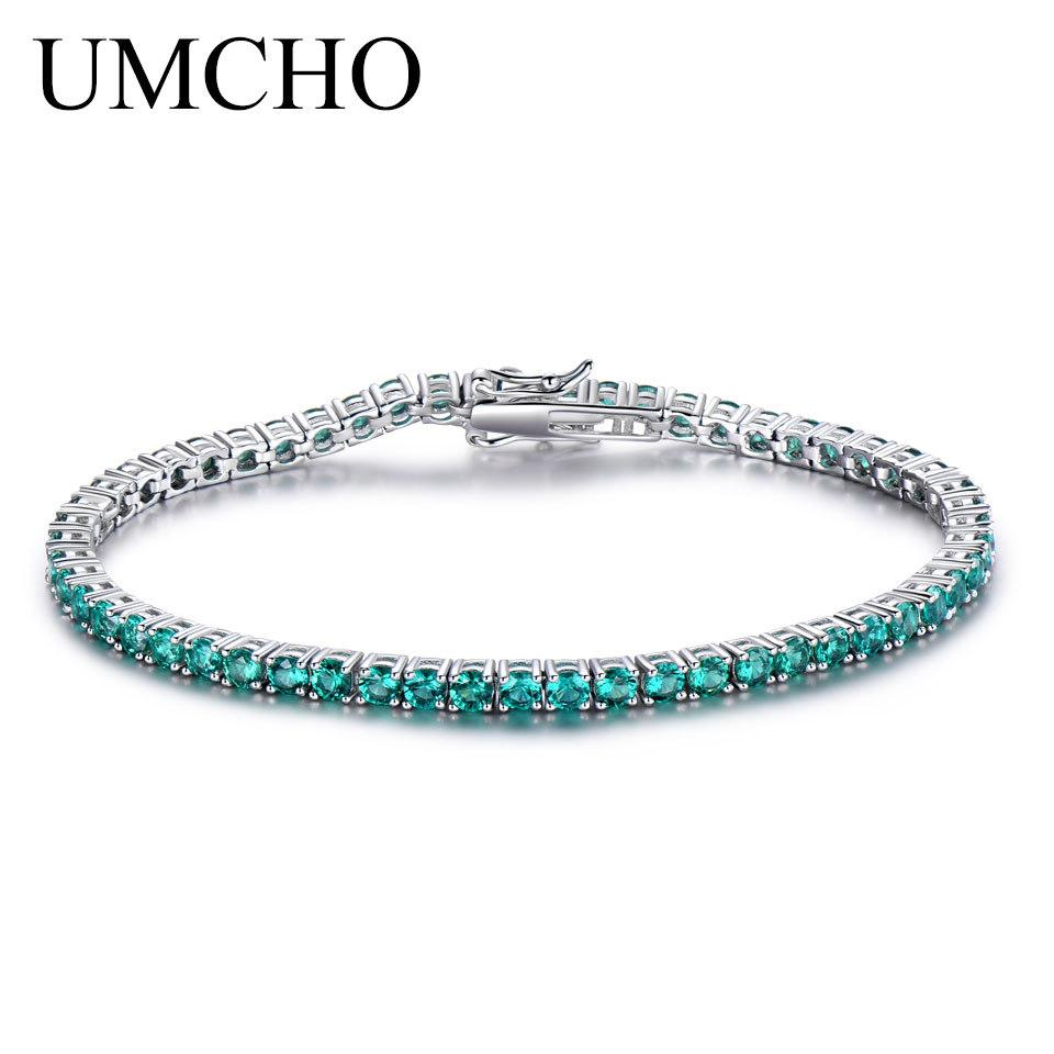 Umcho luxo esmeralda pulseira para as mulheres 925 jóias de prata esterlina personalizado birthstone jóias de pedras preciosas de casamento romântico s18101308