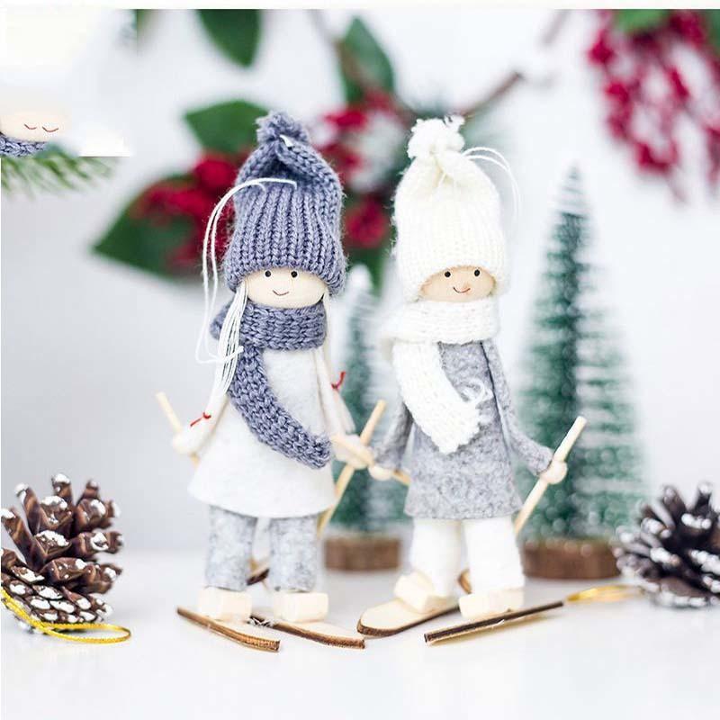Creativo Ángel de Navidad Niña de Esquí Colgante Decoración de Navidad Para el hogar de Navidad Muñeca Linda Fiesta de árbol de Navidad Decoración Y18102609