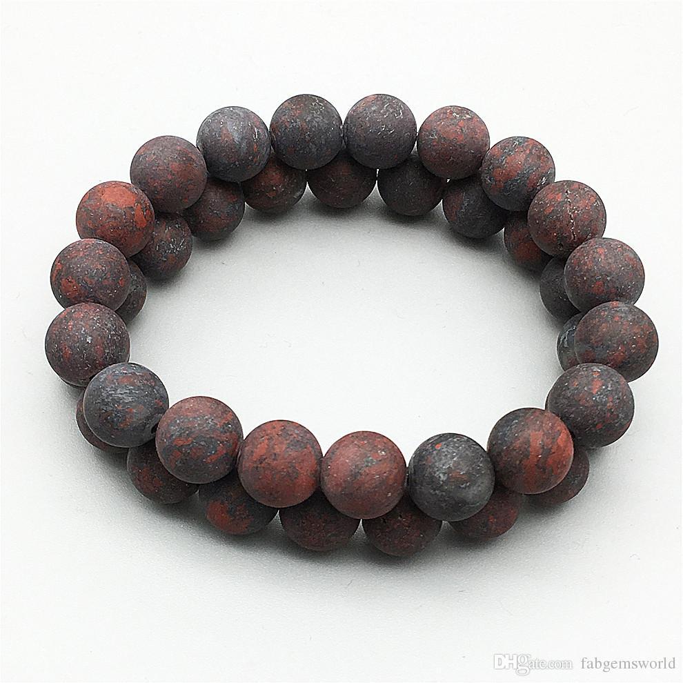 8 мм 10 мм матовая Брекчиированная яшма бисер браслет, эластичный браслет, драгоценный камень бисер браслет, подарки
