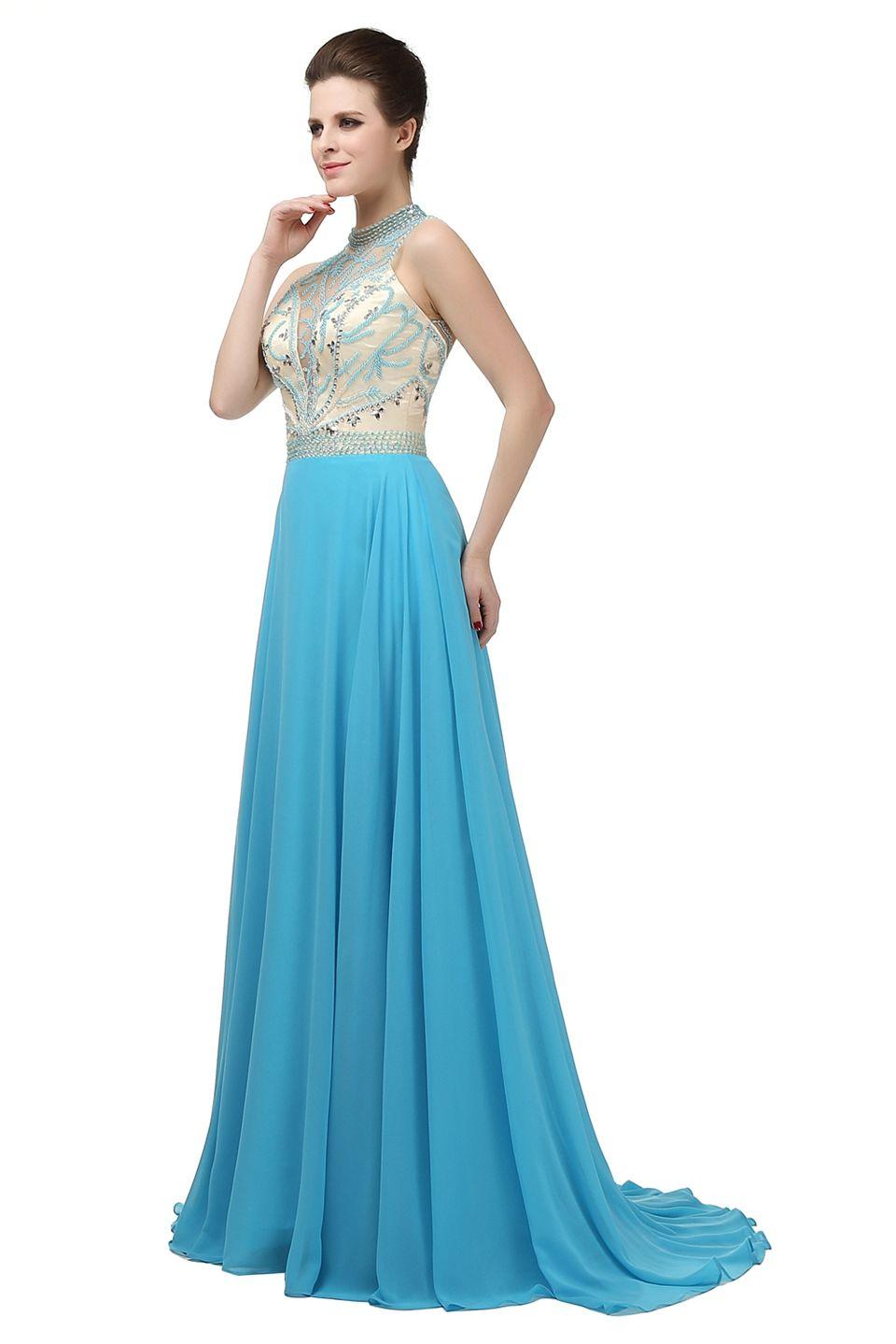 7c36ade63 ... Vestido de noche azul marino con trenzado largo Vestido de noche formal  de tul cristalino largo