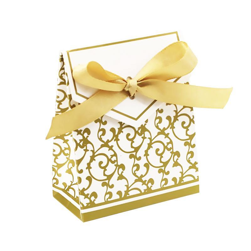 50pcs Flower Ribbon Luxury Candy Box Paper Wedding Candy Bags Gift Decorations For Wedding