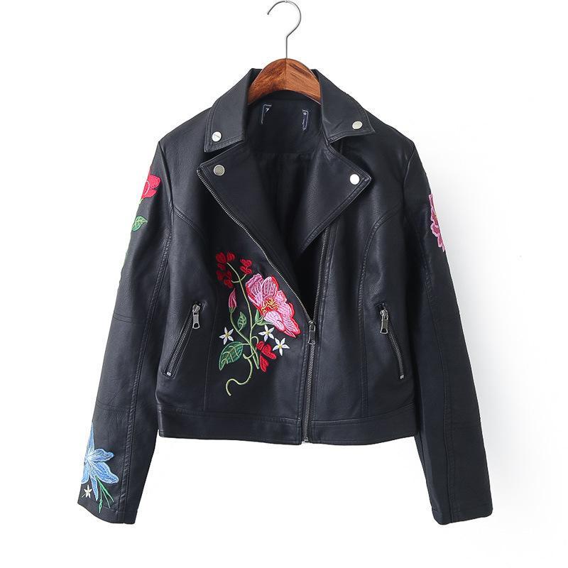 Veste de moto brodée de fleurs, hiver automne nouvelles femmes gothique court cuir faux