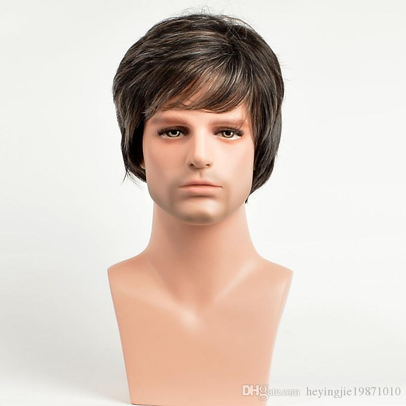 Xiu Zhi Mei Hot sell Straight Short Synthetic Men Wigs Heat Resistant Male Natural Hair Ombre Man Wig