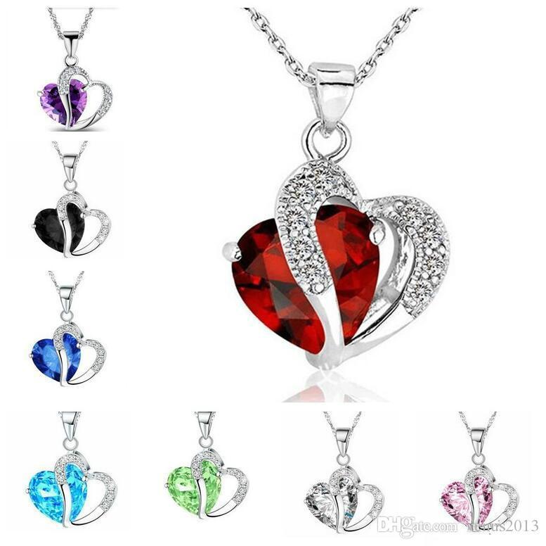 الأزياء قلادة مطعمة كريستال مجوهرات الجمشت الطبيعي كريستال على شكل قلب قلادة الزركون قلادة القلائد