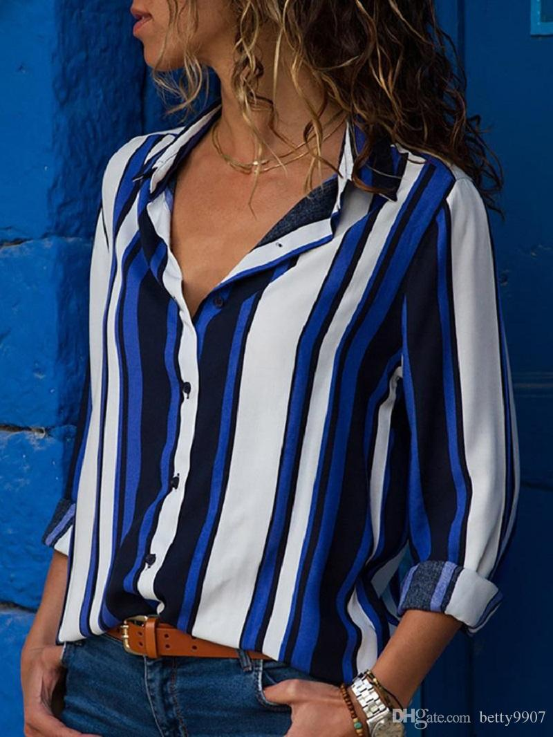 Designer Casual Shirts Plus Size Blouse Women Clothes Autumn Striped Long Sleeve Button Down New 2018 Fashion Tops