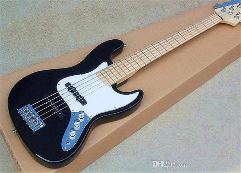 Завод Custom Shop 2015 новый Лучшая цена джаз черной 5 бас-гитара Maple Накладки, может быть настроена с требованиями