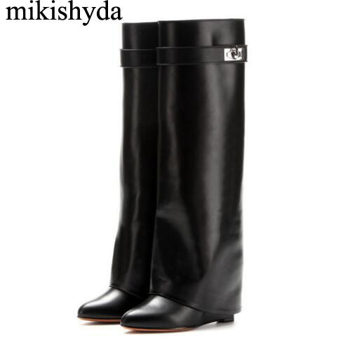 b480945e6 Mikishyda Silver Metal Shark lock Knee high Boots Women Designer Pointed  Toe Leather Wedge increase Height