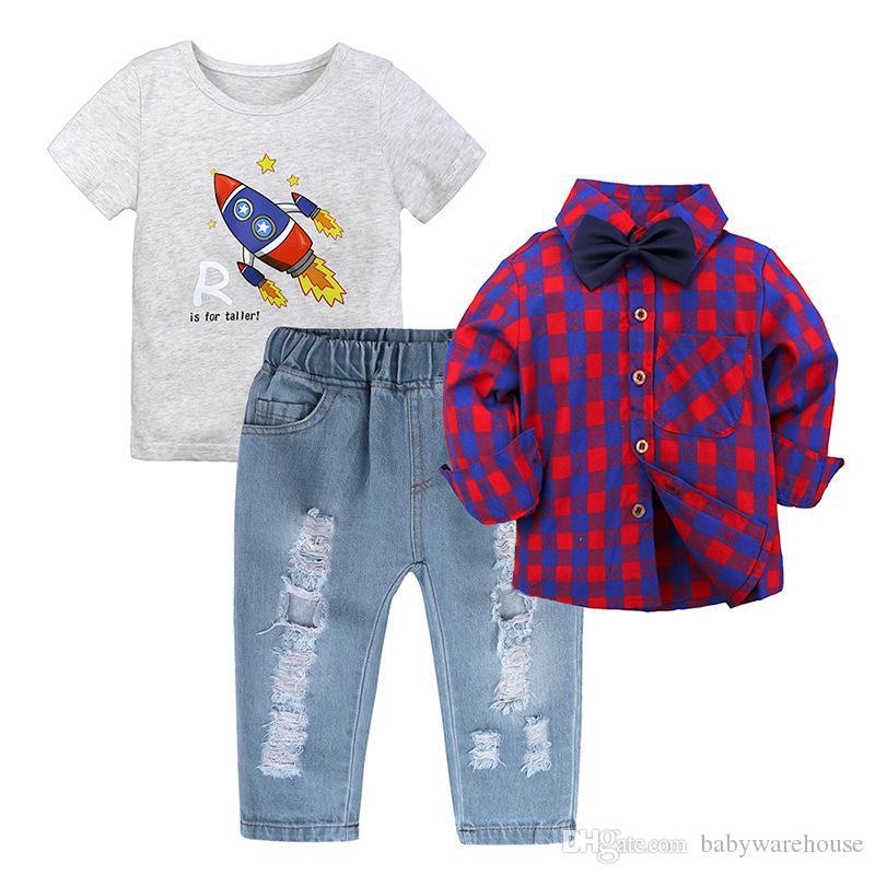 Boys Clothing Sets 3pcs Summer Autumn T shirt +Full Sleeve Plaid Shirt +Jeans Kids Suits Children Outfits Baby Boy Clothes Gentleman 2-7T
