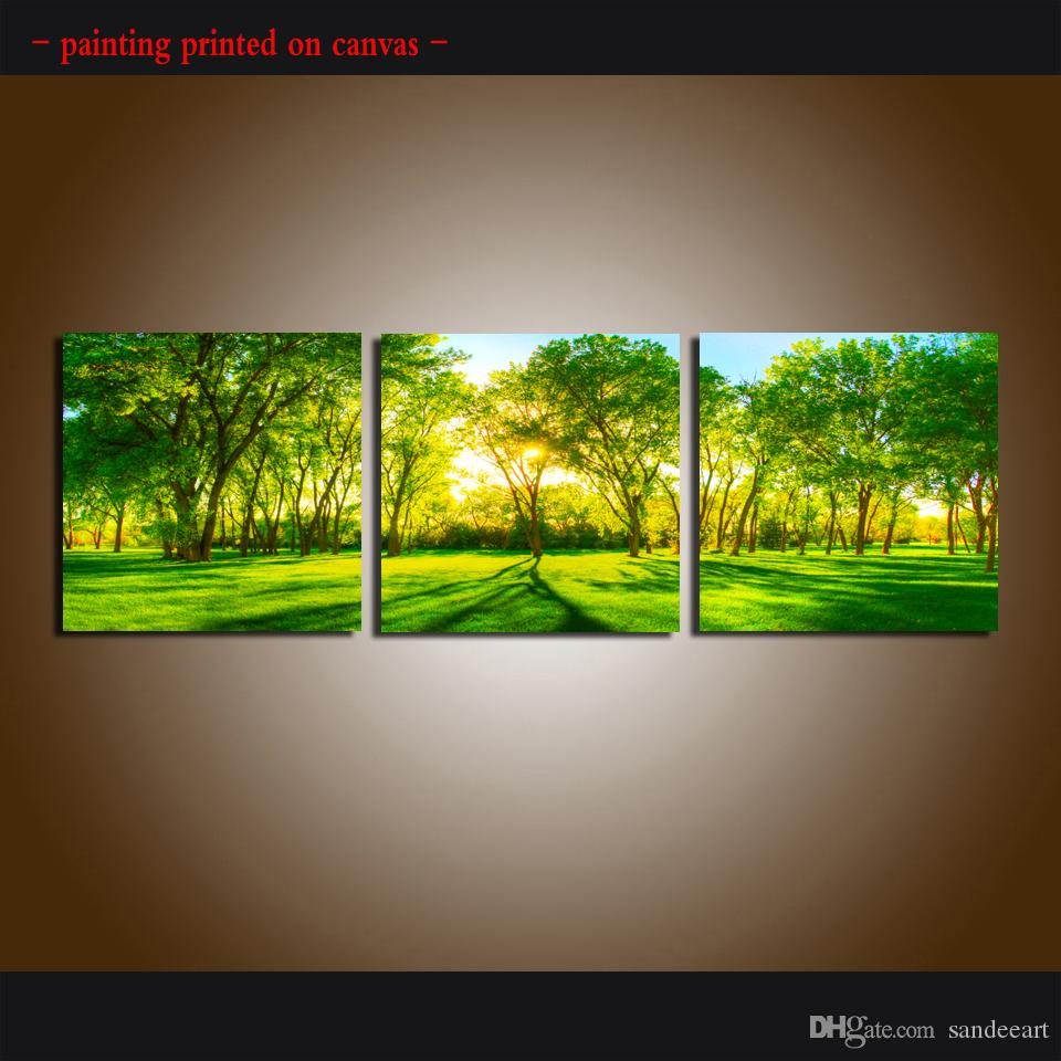 Framed/Unframed Large Modern 3 piece Sets Wall Art Giclee Prints Painting Green forest landscape Picture Abstract Canvas Home Decor 3Pcs6