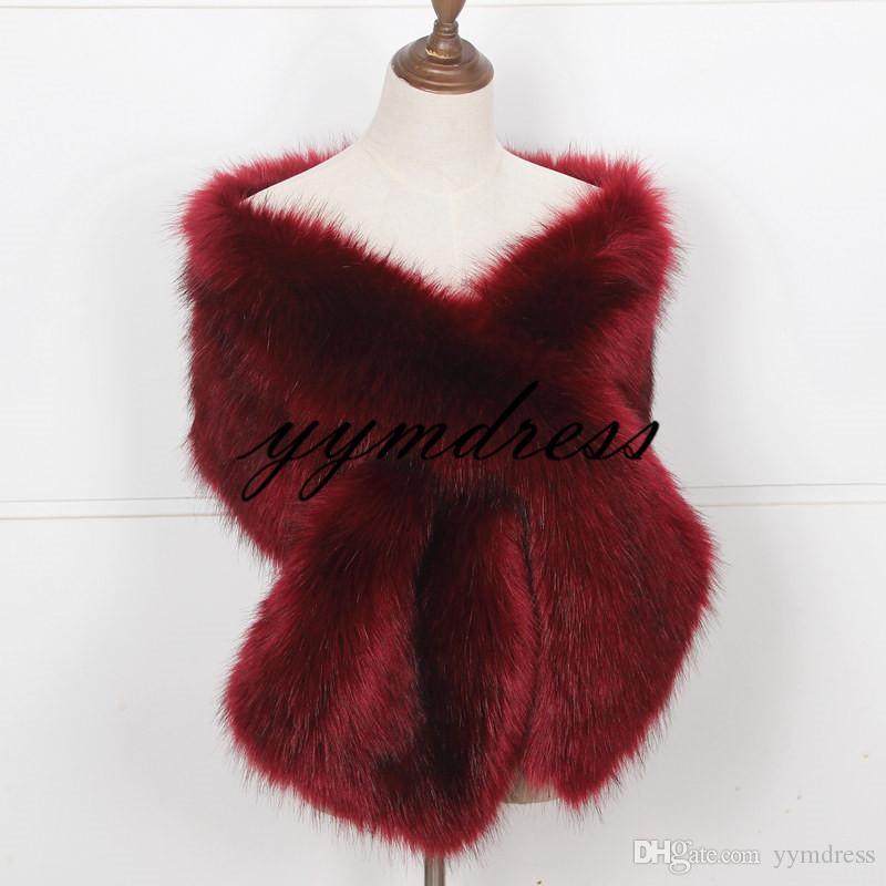 Bridal Wraps Shawl 2019 New Faux Fox Fur Marriage Shrug Bride Winter Wedding Bridesmaid Party Boleros Burgundy Factory Sale Discount