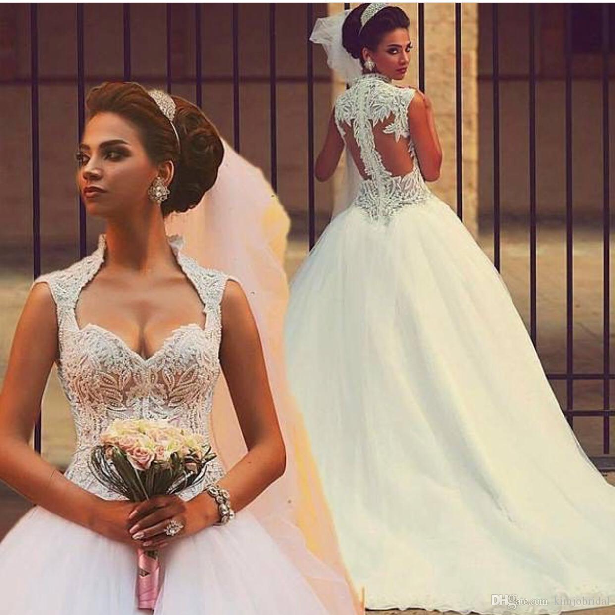 2019 Vestido de boda de marfil vestido de bolas de lujo con cuentas de lujo de manga elegante vestidos de novia Vestido de Novia