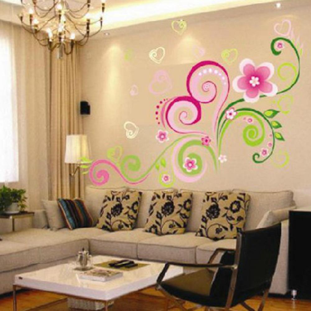 ديكور المنزل صائق الفن القابل للإزالة كيد الفينيل شكل قلب زهرة كرمة الجدار ملصق