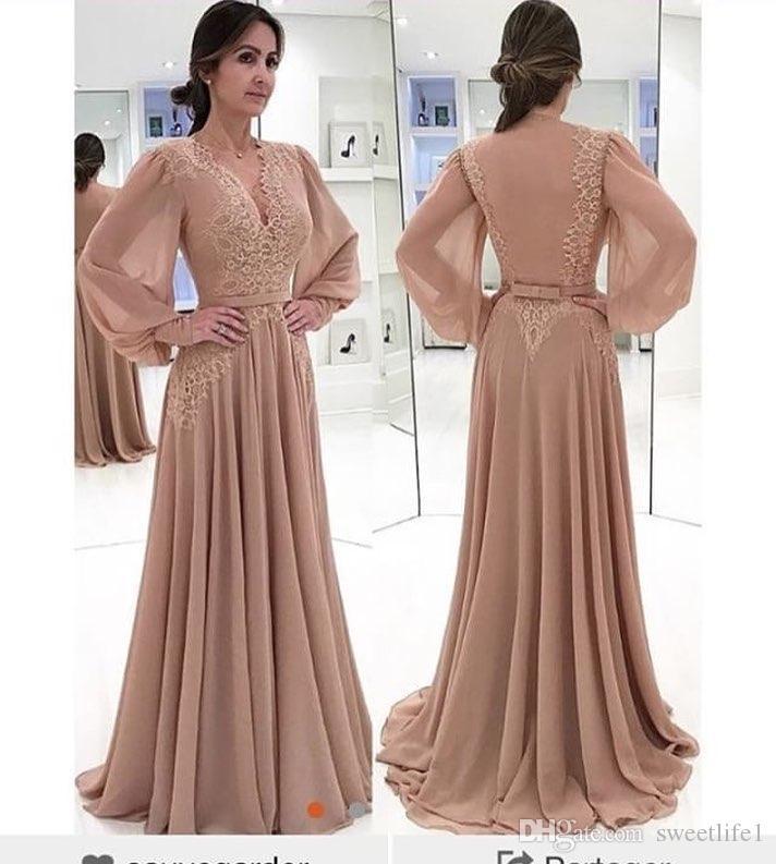 2019 nouvelle arrivée col en V manches longues robes de soirée appliques en mousseline de soie longueur de plancher dos nu formelle occasion robes de bal robes de soirée
