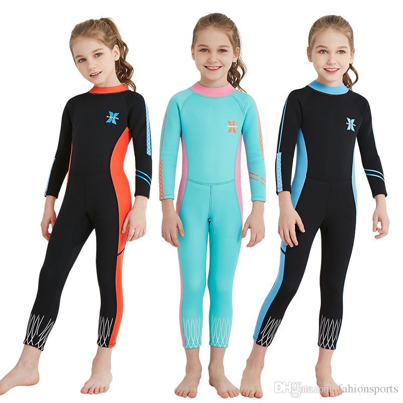 Enfants Full Sleeves Wetsuit Plongée Surf Surf Sports nautiques Wetsuits Junior Girls Retour Zip Maillot de bain manches longues Wet Suit
