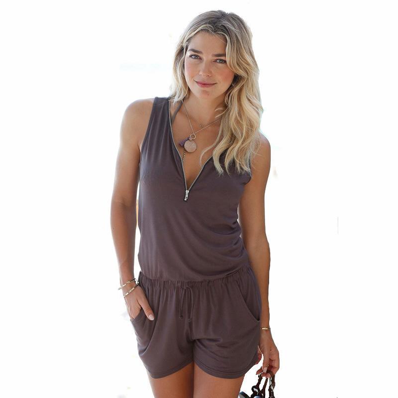 Sexy sin mangas del mono con cuello en V bolsillos con cremallera Playsuit Shorts Mameluco Moda de verano Trajes de playa Femme vestido mujeres mono