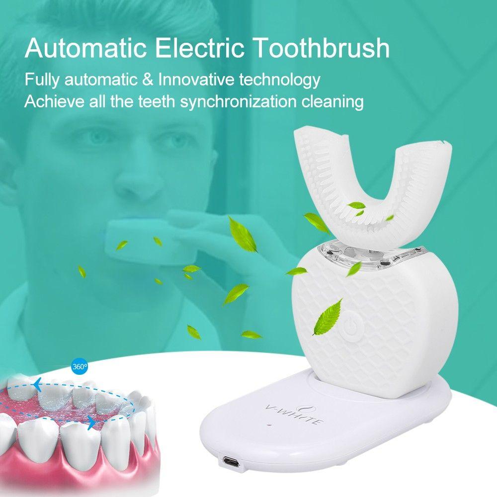 360 درجة ذكي التلقائي فرشاة الأسنان اللاسلكية شحن الذكية u نوع رؤساء فرشاة الأسنان قابلة للشحن الأسنان