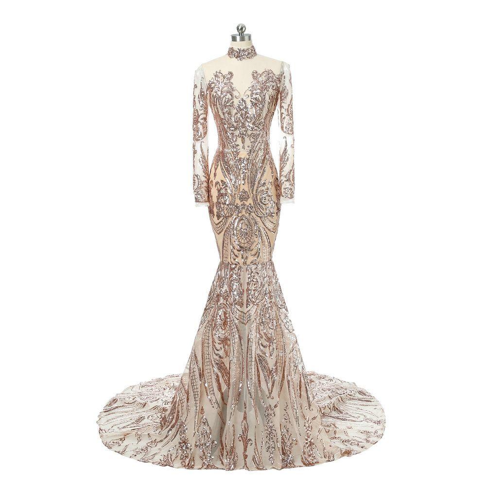 Großhandel Saudi Arabisch High Neck Gold Pailletten Lange Meerjungfrau  Abendkleider 10 Glänzende Afrikanische Langarm Formales Kleid Für Prom  Gala