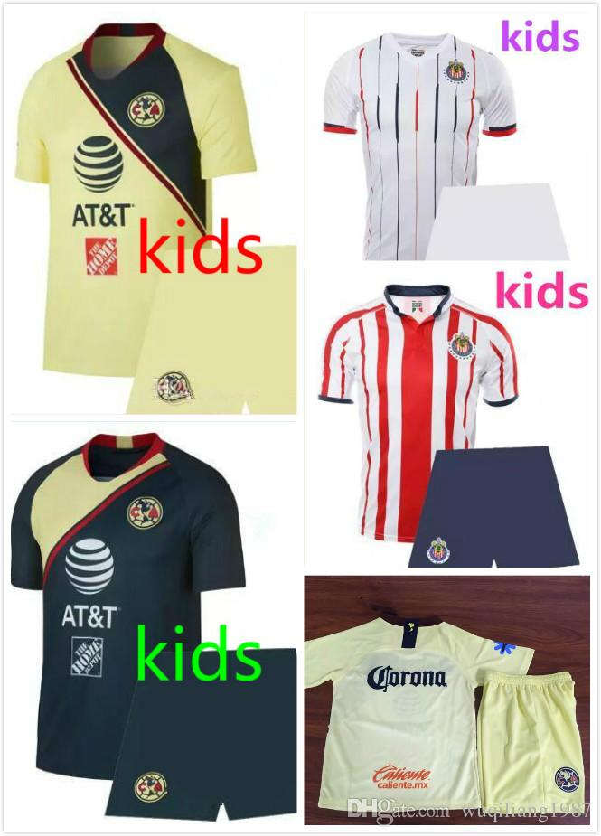 a7ac99b5c new 2018 2019 kids Mexico Chivas Guadalajara shirt 18 19 Mexico O.PERALTA  home away football jersey 2018 LIGA MX Club America soccer Jersey