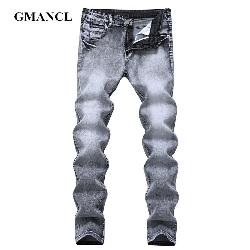 commercio all'ingrosso degli uomini sottili nuovi jeans diritti casuali degli uomini di alta qualità di elasticità stile hip hop streetwear pantaloni di jeans retrò più il formato 40