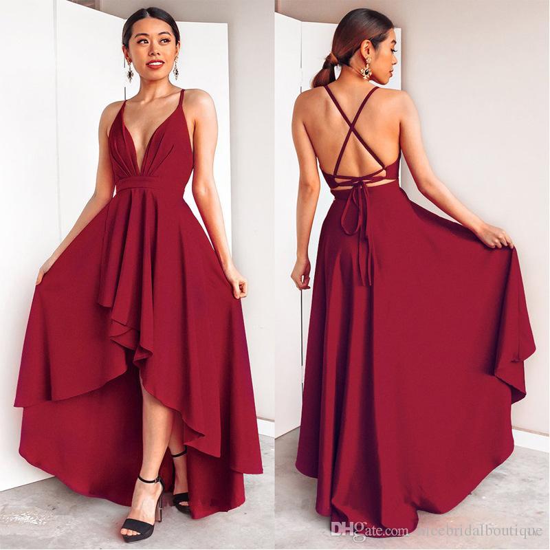 Compre Hola Lo Borgoña Vestidos De Fiesta 2018 Con Cordones Espalda Sexy Formal Vestido De Noche Alto Bajo Boda Fiesta De Bodas Vestidos
