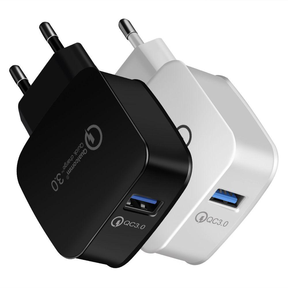 QC 3.0 Carregador De Parede Qualcomm USB Carga Rápida 5 V 3A 9 V 2A 12 V 1.5A Adaptador De Alimentação De Viagem Rápida de Carregamento EUA Plug UE para o iphone Samsung 50 PCS /