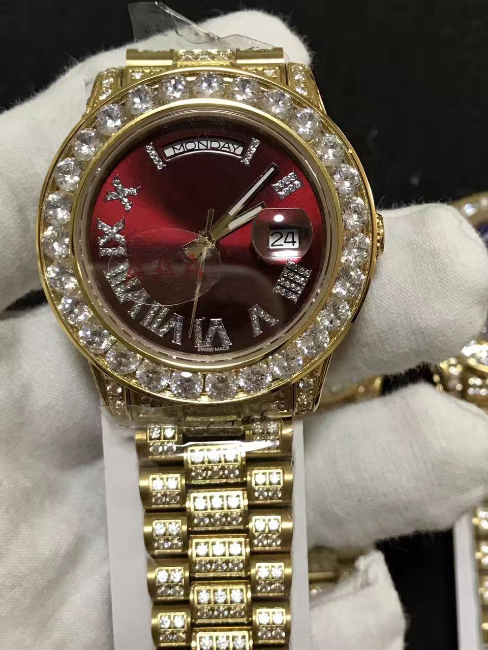 moda de qualidade marca movimento automático caso grande diamante exibição de data automática discar 228349 de alta qualidade 41MM luxo relógio dos homens