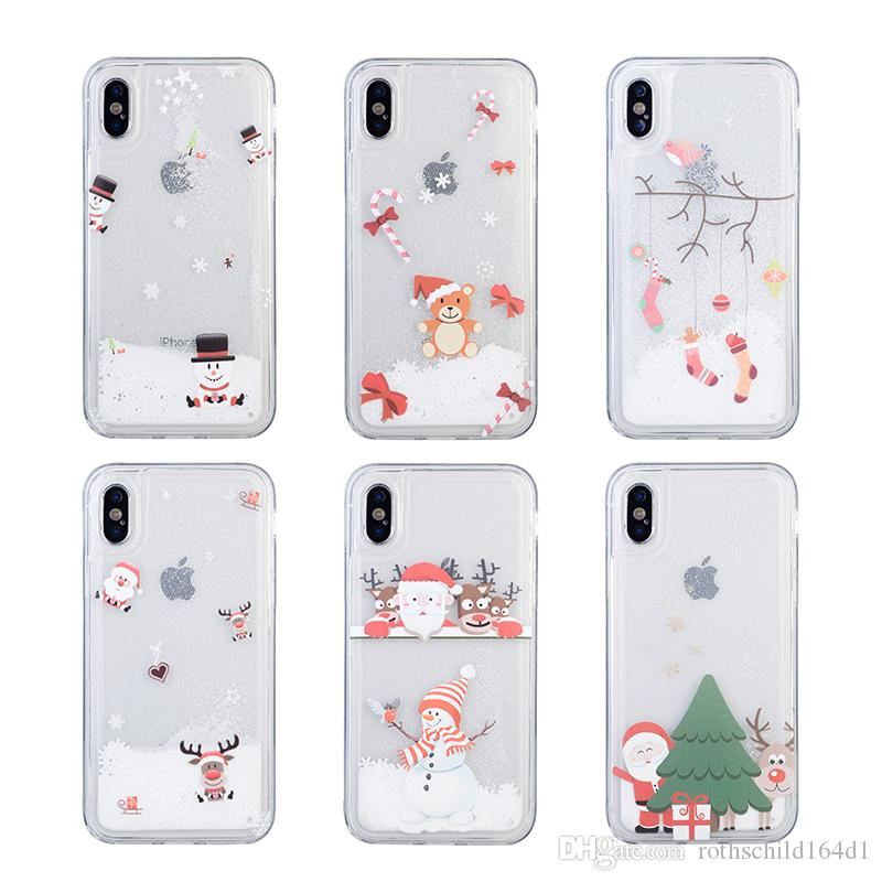 Christmas Phone Case Iphone Xr.Phone Case For Iphone X Xr Xs Xsmax Christmas Snowflake Glitter Quicksand Soft Tpu Case For Iphone 6 6s 7 8 Plus Back Conque Free Cell Phone Cases