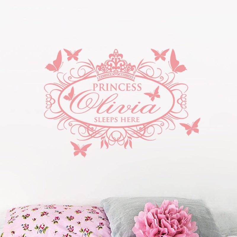 Пользовательское имя Наклейка на стену Съемные обои для девочки декор комнаты Принцесса Спи Здесь Виниловая Наклейка