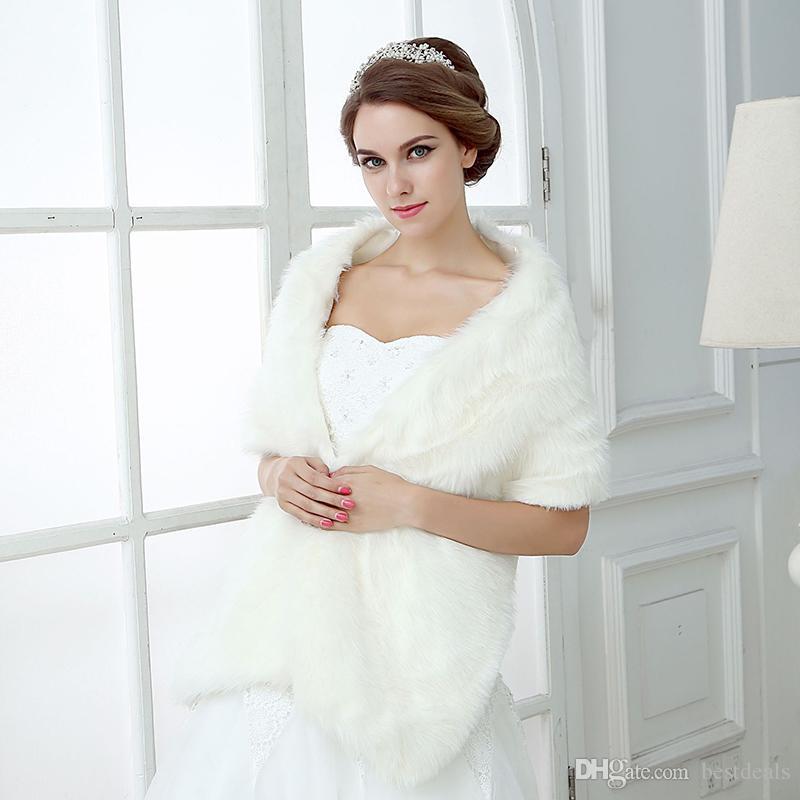 Ucuz Gelin Sarar Sahte Faux Kürk Hollywood Glamour Düğün Ceketler Sokak Stil Moda Kapak Up Cape Stole Coat Shrug Şal Bolero