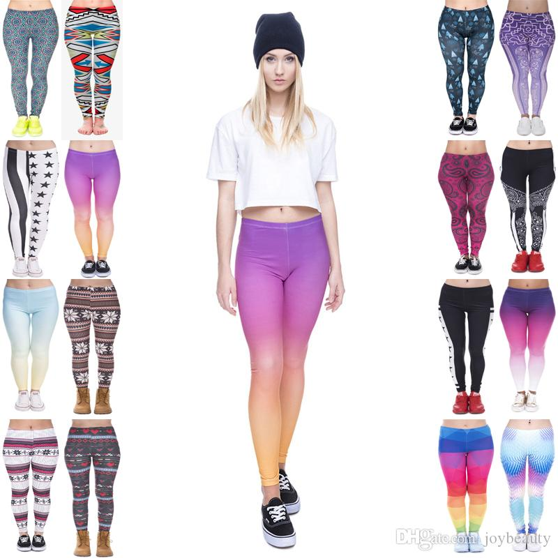 Lady Leggings Mix 16 Styles Arabesque Digital Star Stripe USA Rainbow Ombre Winter Nordic Christmas Trees 3D Print Soft Yoga Pants (JL026)