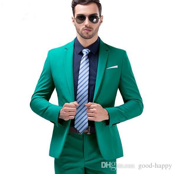 Brand New Green Slim Fit Tuxedos de mariage de haute qualité Gux Smooth Tuxedos encoche revers One Buttons Men Blazer 2 Piece Suit