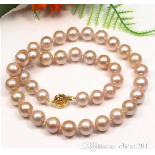 Beautiful 10-11MM Natural Pink South Sea Pearl Necklace 18inch 14K Gold Clasp