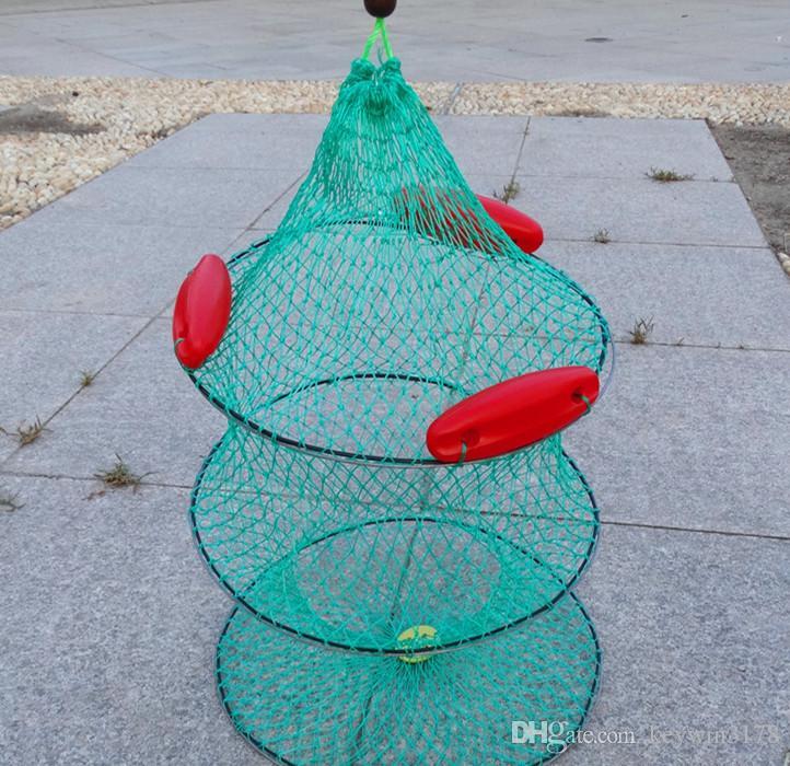 Whole Sale 3/5 Layers 1.2M Folding Fishing Net Fish Crab Minnow Keep Net Fishing Trap Dip Net Nylon Fish Cage Fishing Tool with Floats