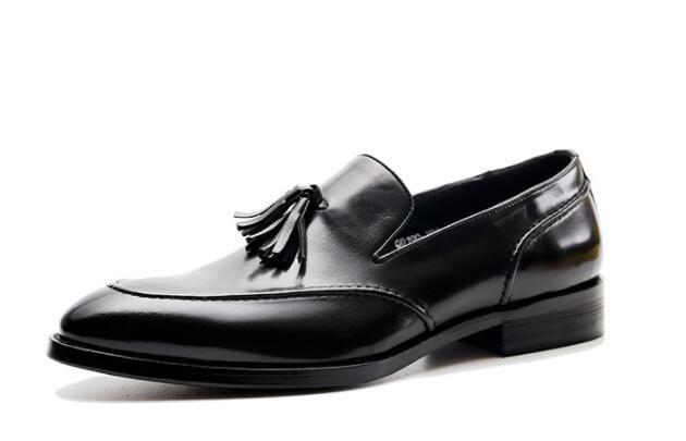 Nova venda quente dos homens de negócios vestido terno sapatos de marca de couro genuíno borla preto sapatos de casamento h1h39