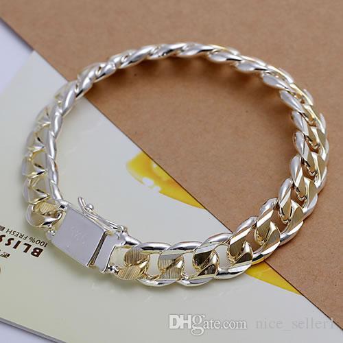 Belle Argento 925 braccialetto per le donne uomini, oro 925 Blocco Piazza Catena 8inch Bracciale Italia di nuovo arrivo di natale migliore Gfit AH91