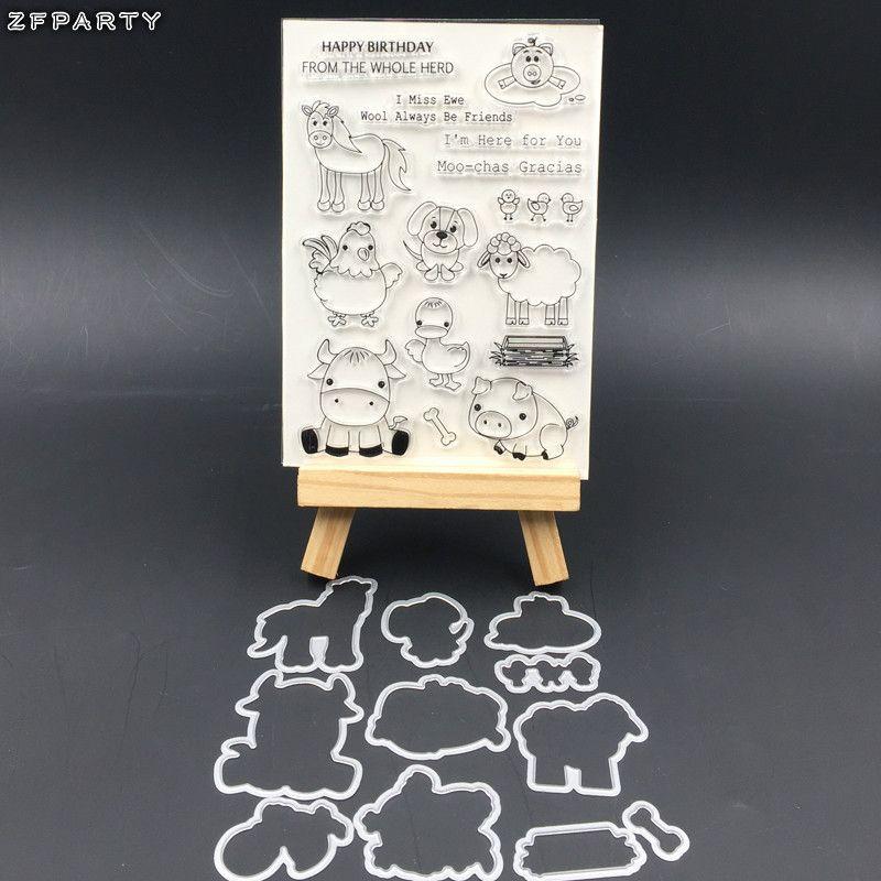 DIY scrapbooking / 사진 앨범 / 카드 만들기에 대 한 설정 농장 동물 투명 한 투명 한 실리콘 스탬프 및 절단 죽 도매