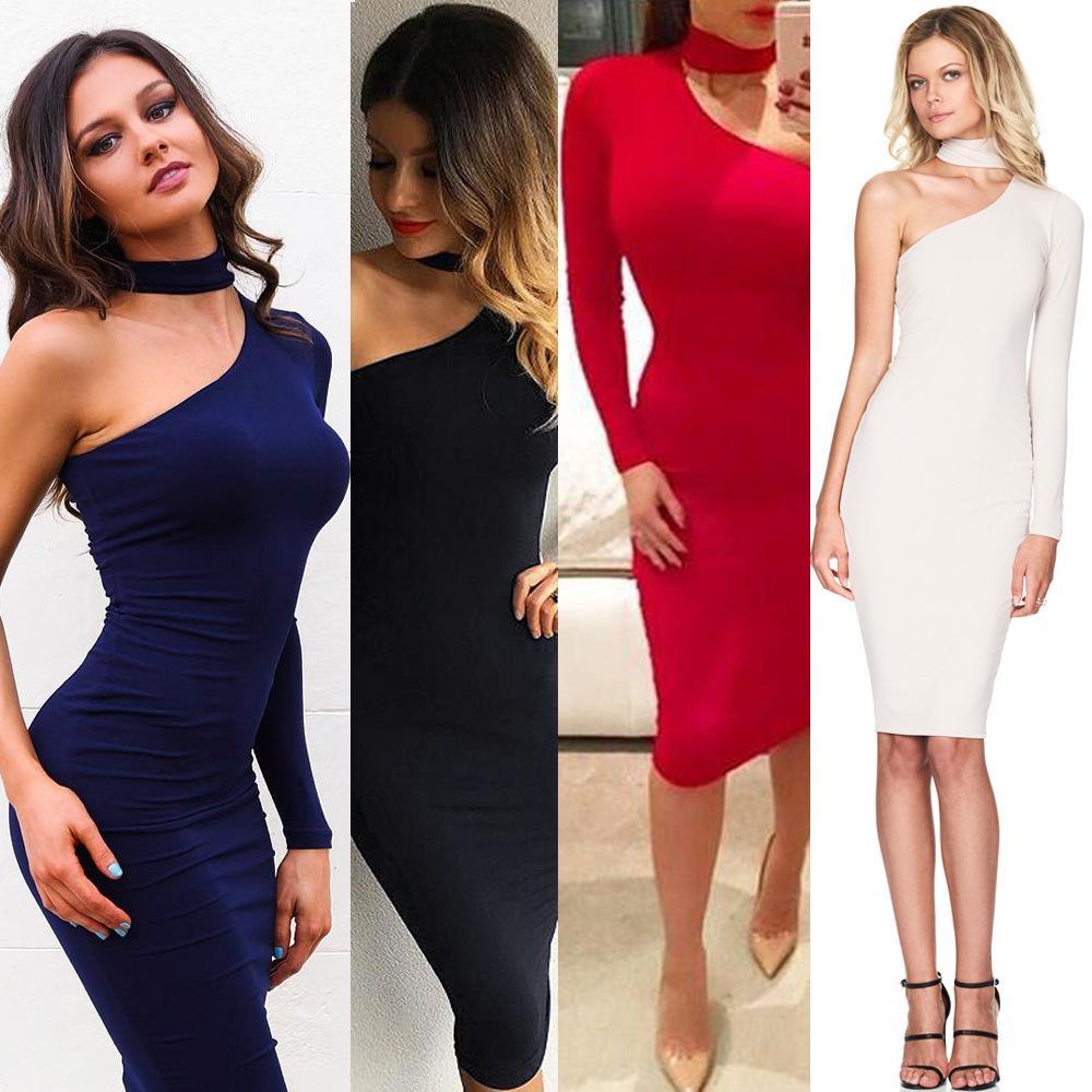 2018 été femmes robe plage manches longues suspendus cou à manches longues sac hanche grande taille robe sexy