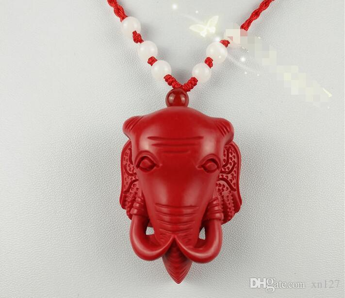 Çin Kırmızı Organik Cinnabar Fil Kolye Kolye Şanslı Takı Muska A116